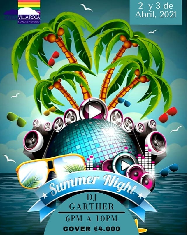 Manuel Antonio Party Flyer - Summer Night DJ Garther - Villa Roca